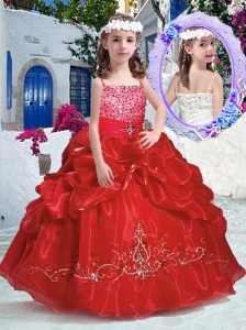 New Style Top Selling Spaghetti Straps Little Girl Pageant Dresses with Beading and Bubles