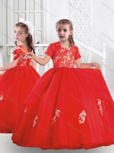 New Style Ball Gown Scoop Appliques Little Girl Pageant Dresses in Red