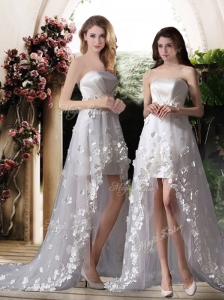 2016 Empire Strapless High Low Wedding Dresses with Appliques