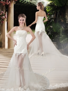 2016 Popular See Through Empire Strapless Appliques Wedding Dresses with Court