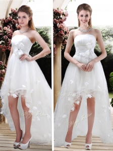 Beautiful Strapless High Low Wedding Dresses with Appliques and Belt