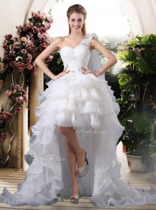 Inexpensive One Shoulder High Low Wedding Dresses with Ruffled Layers
