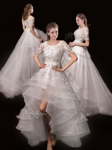 Latest Appliques High Low Wedding Dresses with Short Sleeves