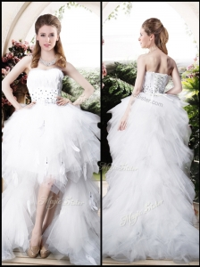 Beautiful High Low Sweetheart Wedding Dresses with Beading and Ruffles