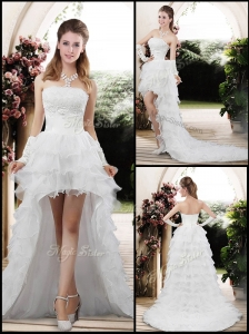Fashionable 2016 Strapless High Low Appliques Wedding Dresses
