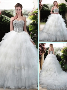 Latest Beading and Ruffles Wedding Dresses with Court Train