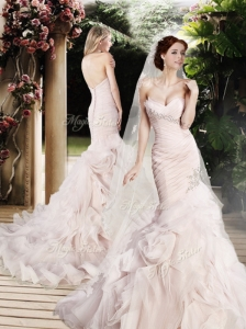 Modest Mermaid Beading and Ruffles Wedding Dresses with Brush Train