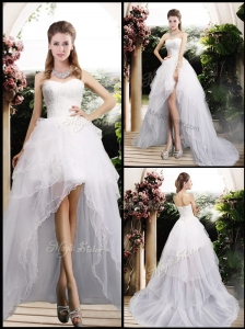 New Arrivals High Low Wedding Dresses with Ruffles