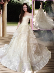 New Style A Line Court Train Wedding Dresses with Off the Shoulder