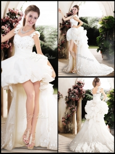 New Style High Low Straps Wedding Dresses with Appliques