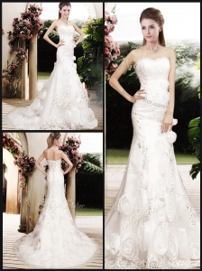 Perfect Column Beading Wedding Dresses with Brush Train
