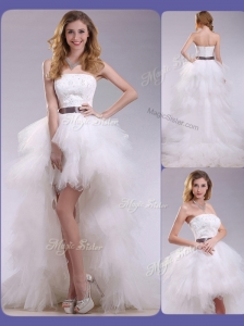 Romantic High Low Ruffles and Belt Wedding Dresses with Zipper Up