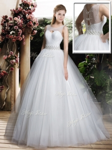 Simple A Line Scoop Wedding Dresses with Beading and Belt