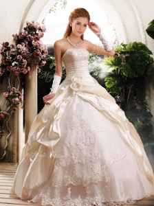 Fashionable Ball Gown Strapless Wedding Dresses with Appliques
