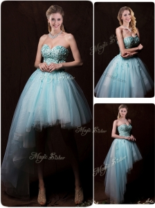 Low Price Appliques Light Blue Wedding Dresses with Asymmetrical