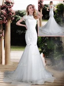 Luxurious Mermaid High Neck Beading Wedding Dresses with Brush Train