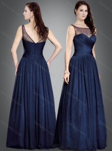 Classical Column Bateau Navy Blue Mother of The Groom Dress in Tulle