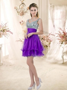 2016 Best Straps Short Purple Prom Dresses with Sequins
