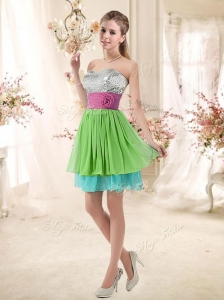 2016 Cheap Sweetheart Short Prom Dresses with Sequins and Belt