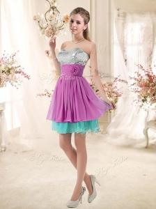 2016 Inexpensive Sweetheart Sequins and Belt Prom Dresses in Multi Color