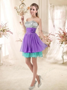 2016 Low Price Sweetheart Short Bridesmaid Dresses with Sequins and Belt