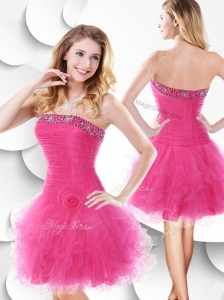 2016 Luxurious Strapless Hot Pink Bridesmaid Dresses with Beading and Ruffles