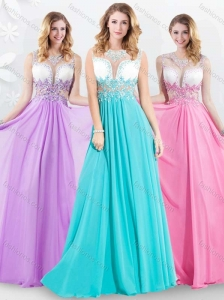 Pretty Empire Scoop Brush Train Beading Prom Dress for 2016
