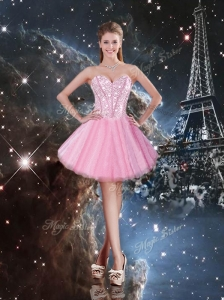 2016 Beautiful Sweetheart Beading Short Prom Dresses in Pink