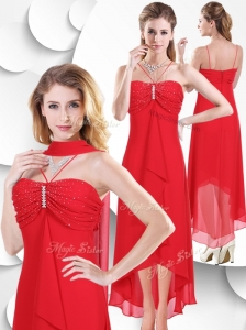 2016 Best Spaghetti Straps High Low Red Prom Dress with Beading