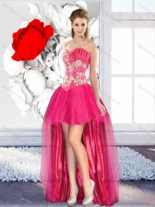 2016 High Low Beaded Modest Prom Dresses with A Line