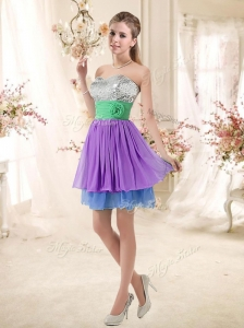 2016 Most Popular Sweetheart Multi Color Short Dama Dresses for Quinceanera with Sequins