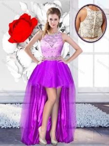 2016 Pretty High Low Scoop 2016 Prom Dresses with Beading