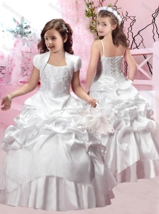 Elegant Spaghetti Straps Applique and Bubble Flower Girl Dress in Taffeta
