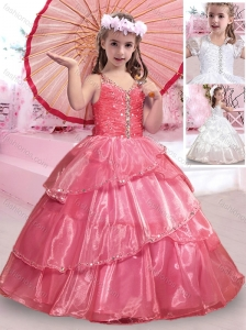 Exclusive Really Puffy V Neck Organza Flower Girl Dress with Beading