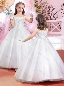 Lovely Square Beaded and Belted Flower Girl Dress in Tulle
