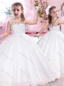 Pretty See Through Scoop Flower Girl Dress with Appliques and Beading