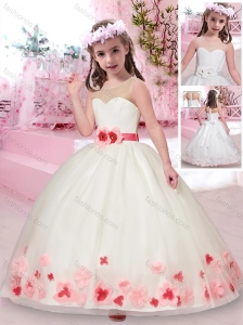 Exquisite See Through Belted and Applique Flower Girl Dress in White