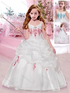 New Style Spaghetti Straps Flower Girl Dress with Appliques and Bubbles