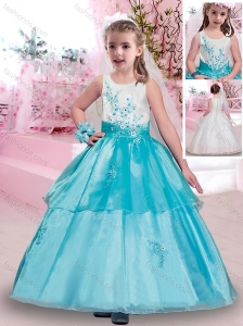 Popular Scoop Applique Flower Girl Dress in Aqua Blue and White