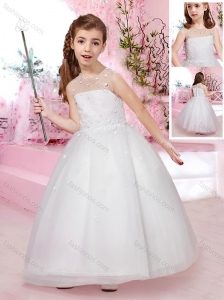 2016 Modest Scoop Ankle Length Tulle Flower Girl Dress with Appliques