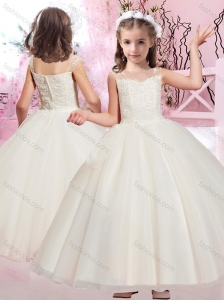 Beautiful Ball Gown Bateau Applique Flower Girl Dress with Cap Sleeves