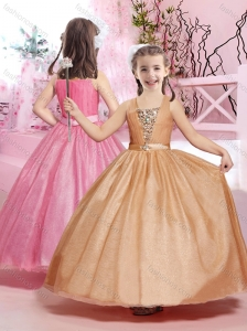Beautiful Straps Beaded and Belted Champagne Flower Girl Dress with Ankle