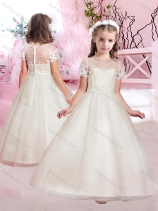 Cheap A Line Scoop Applique and Beaded Flower Girl Dress with Short Sleeves