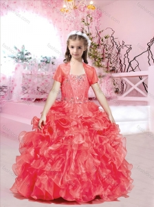 Exquisite Visible Boning Red Flower Girl Dress with Beading and Ruffles