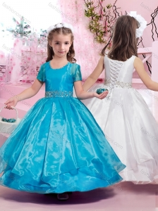 Latest Ankle Length Belted with Beading Flower Girl Dress with Lace Up