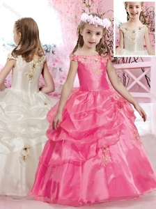 New A Line Off the Shoulder Flower Girl Dress with Beading and Appliques