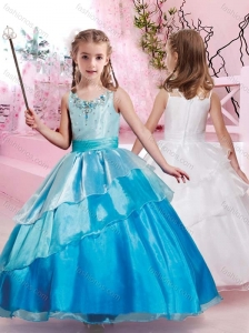 New Style Scoop Organza Flower Girl Dress with Colorful Beading
