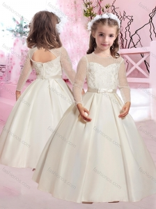 Popular Applique and Belted A Line Flower Girl Dress in Taffeta