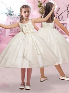 Simple Hand Crafted Flower Square Flower Girl Dress in Taffeta
