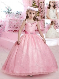 Simple Puffy Skirt Straps Flower Girl Dress with Beading and Belt